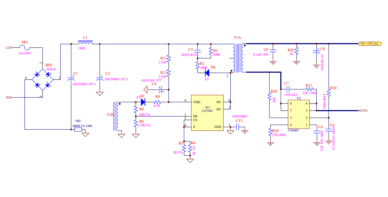 5V2.4A开关电源手机充电器方案 案例:5V2.4A直流输出的开关电源充电器参考设计,使用电源IC是CX7503,包含了完整的PCB图,限流图,BOM,线路图,BOM,电感资料以及详细测试数据,选择件参数以及典型PCB图 设计特征 1:AC 90-265V输入 2:DC 5V2.4A输出 3:输出纹波小于250MV 4:空载功耗小于0.